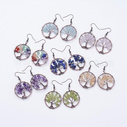 Natural Gemstone Dangle EarringsEJEW-F054-M-1