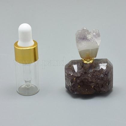 天然アメジスト開閉式香水瓶ペンダントG-E556-18A-1
