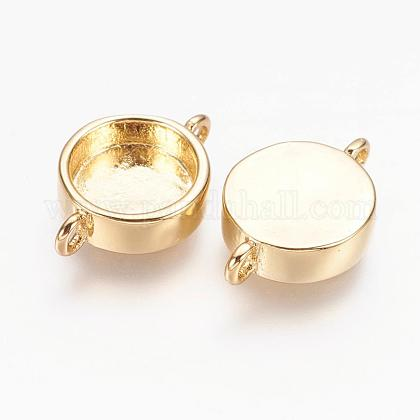 Real 18K Gold Plated Brass Cabochon Connector SettingsKK-K177-02B-G-1