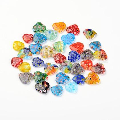 Heart Handmade Millefiori Glass PendantsLAMP-I011-02-1