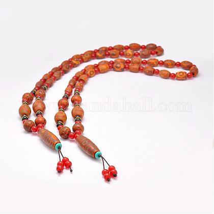 Buddhist Jewelry Natural Tibetan Agate Beaded NecklacesNJEW-F131-19-1