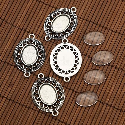 Style tibétain supports connecteur en alliage pour cabochon de la lunette et supports cabochons de verre ovales transparentsDIY-X0206-AS-1