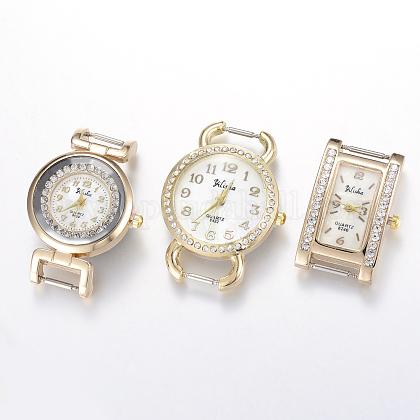 Estilo mixto cabezas reloj esfera del reloj de cuarzo la aleación del Rhinestone del tono de oroWACH-F009-M-1