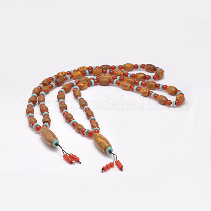 Joyería budista natural ágata tibetana rebordeada collaresNJEW-F131-04-1