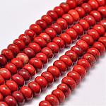 Natural Red Jasper Beads Strands, Rondelle, Grade AB, Red, 8x5mm, Hole: 1mm; about 75pcs/strand, 15.1