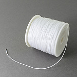 Braided Nylon Thread, Chinese Knotting Cord Beading Cord for Beading Jewelry Making, White, 0.5mm; about 150yards/roll