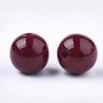 Abalorios de resina, de piedras preciosas de imitación, redondo, marrón, 16~16.5mm, agujero: 3.5 mm
