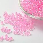 Perles acryliques transparentes environnementales, ronde, couleur ab , pearlpink, 8mm, trou: 1.5 mm; environ 2000 pcs / sac
