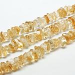 Cuentas de chips de citrino natural hebras, 9~15x9~15mm, agujero: 1 mm; aproximadamente 15.3 pulgadas ~ 15.9 pulgadas