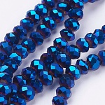 Electroplate Glass Bead Strands, Faceted, Rondelle, Blue Plated, 6x5mm, Hole: 1mm; about 100pcs/strand, 17.7 inches