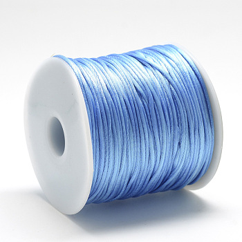 Nylon Thread, Rattail Satin Cord, Cornflower Blue, about 1mm; about 75m/roll