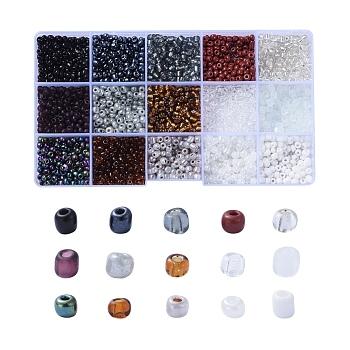 Abalorios de la semilla de cristal, plateado y transparente y trans. colores brillantes y trans. colores arco iris y colores esmerilados y colores opacos semillas y pintura para hornear y ceilán, redondo, color mezclado, 6/0, 4mm, agujero: 1.5 mm, 180 g / caja