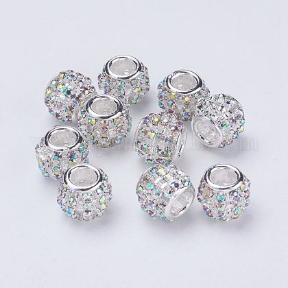 Silver Color Plated Alloy Grade A Rhinestone European Beads CPDL-J024-02S-1