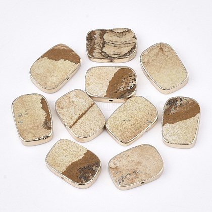 Electroplate Natural Picture Jasper BeadsG-S344-99-1