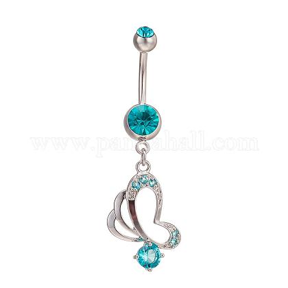 Piercing Jewelry Real Platinum Plated Brass Rhinestone Butterfly Navel Ring Belly Rings AJEW-EE0001-76B-1