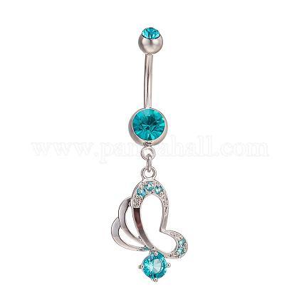 Piercing Jewelry Real Platinum Plated Brass Rhinestone Butterfly Navel Ring Belly RingsAJEW-EE0001-76B-1