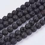 Naturales de lava hebras de abalorios de piedra, redondo, 6.5mm, agujero: 0.5 mm; aproximamente 63 unidades / cadena, 14.9
