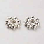 CCB Plastic Bead Spacers, Flower, Silver Color Plated, 6x2mm, Hole: 2mm