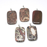 Natural Crazy Agate Pendants, with Iron Clasps, Rectangle, 55~56x35x7~8mm, Hole: 4x5mm