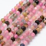 Natural Tourmaline Beads Strands, Faceted, Round, Mixed Color, 2mm, Hole: 0.5mm; about 156pcs/strand, 14.9''(38cm)