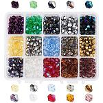 PH PandaHall 1 Box (About 675 pcs) 15 Color 6mm Faceted Bicone Glass Beads Assortment Lot for Jewelry Making