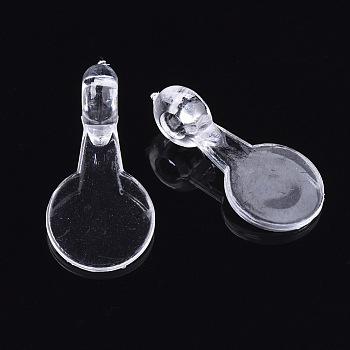 透明なアクリルパーツ  フラットラウンド  透明  16x8x1mm  穴:2mm