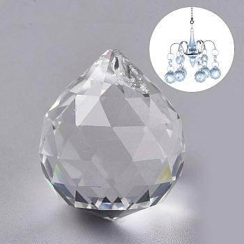 Transparent K9 Glass Pendants, Crystal Ball Prism Hanging Pendants, for Windows, Feng Shui, Teardrop, Clear, 24.5x21.5mm, Hole: 1.2mm