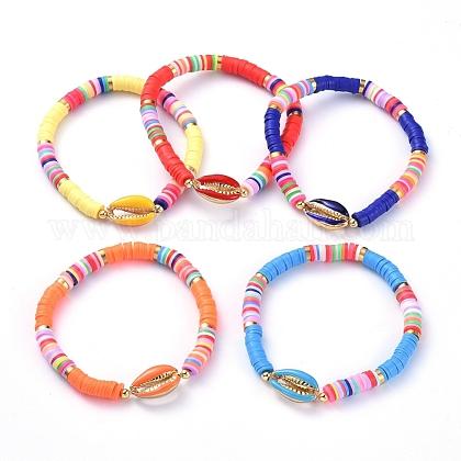 Handmade Polymer Clay Heishi Bead Stretch BraceletsBJEW-JB05076-1
