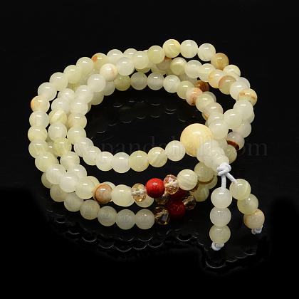 4-Loop Wrap Buddha Meditation Yellow Jade Beaded BraceletsBJEW-R040-6mm-10-1