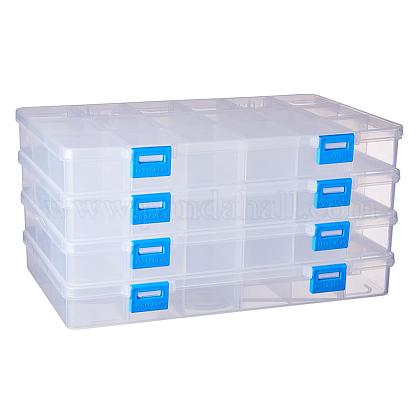 BENECREAT 4 PACK 18 Grids Plastic Storage Box Jewellery Box with Adjustable Dividers Earring Storage Containers Clear Plastic Bead Case(24x14.5x3cmCON-BC0001-07-1