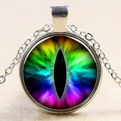 Collares pendientes de cristal con forma de ojo de dragónNJEW-N0051-007J-02-1