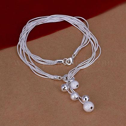 Popular Silver Color Plated Brass Multi-strand Snake Chain NecklacesNJEW-BB12860-1
