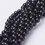 Perles rondes naturel agate noire brins, Grade a, teinte, 8mm, trou: 1mm; environ 52 pcs/chapelet, 15.5