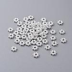 チベットスタイルスペーサービーズ, 鉛フリー&ニッケルフリー&カドミウムフリー, 花, 銀色のメッキ, 直径約4mm, 厚さ2mm, 穴:1mm