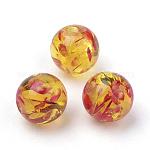 Resin Imitation Amber Beads, Round, Gold, 8mm, Hole: 2mm