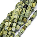Natural Serpentine Beads Strands, Faceted, Cuboid, 14~21x12~17mm, Hole: 1.2mm; about 21~25pcs/strand, 15.3