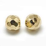 Spacer бисер латунные, граненые круглые, реальный 18k позолоченный, 5x6 мм, отверстие : 1.5 мм