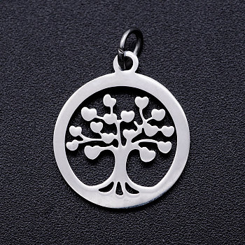 201 Stainless Steel Pendants, with Unsoldered Jump Rings, Flat Round with Tree of Life, Stainless Steel Color, 18.5x16x1mm, Hole: 3mm, Jump Ring: 5x0.8mm