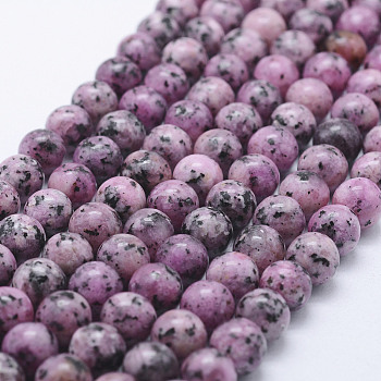 Nature Labradorite Beads Strands, Dyed, Round, Orchid, 8~8.5mm, Hole: 1mm; about 47~49pcs/strand, 14.5inches~14.9inches(37~38cm)