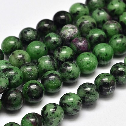 Natural Round Ruby in Zoisite Bead StrandsG-F289-12-10mm-1