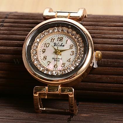 Piso reloj de cuarzo cabeza la cara del reloj de rhinestone de aleación redondos de tono doradoWACH-F009-03-1