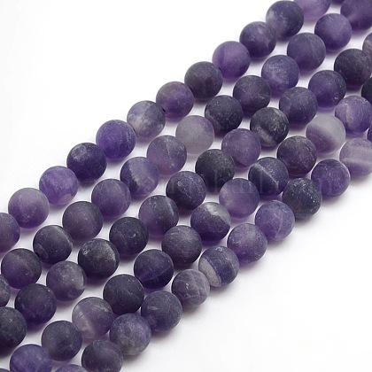 Chapelets de perles rondes en améthyste mate naturelleG-M064-6mm-13-1