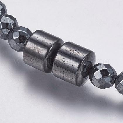 磁気無し合成ヘマタイトビーズネックレスNJEW-K096-11E-1