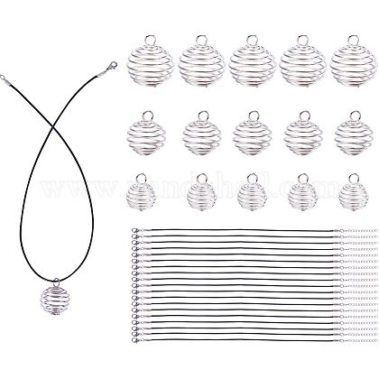PandaHall Elite 24 pcs 30/25/15x25/20/14mm 3 Size Silver Iron Spiral Bead Cages Pendants with 24 pcs 17 inch Black Imitation Leather Cord Chain for Jewelry MakingDIY-PH0019-12-1