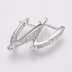 Brass Micro Pave Cubic Zirconia Hoop Earrings Findings, Clear, Platinum, 18x3.5x12.5mm, Hole: 1.2mm; Pin: 1.2mm
