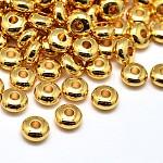 環境真鍮フラットラウンドスペーサービーズ, 鉛フリー&カドミウムフリー&ニッケルフリー, ゴールドカラー, 6x3mm, 穴:2mm