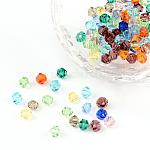 Mixed Color Bicone Faceted Glass Crystal Spacer Beads, about 4mm in diameter, 3.5mm thick, hole: 1mm