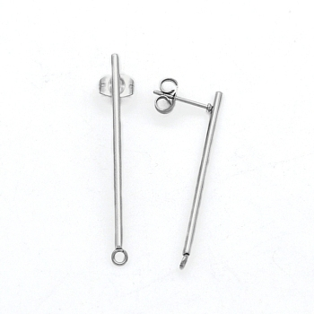 304 Stainless Steel Stud Earring Finding, with Loop and Ear Nuts, Strip, Stainless Steel Color, 38x2mm, Hole: 1.6mm, Pin: 0.8mm
