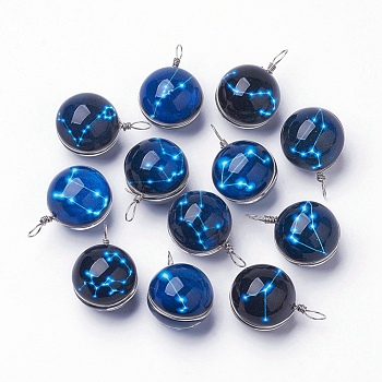 Leuchtende Glasanhänger, mit platinen Messing Zubehör  , rund mit Sternbild / Sternzeichen, gemischt, 28~29x18~19 mm, Bohrung: 4x5 mm