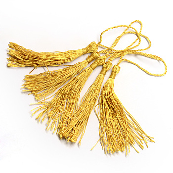Polyester Tassel Decorations, Pendant Decorations, Gold, 130x6mm, Tassel: 70~90mm